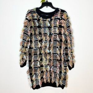 Wow Couture Multi-Color Shaggy Sweater Dress